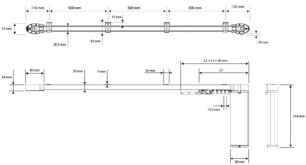 Схема с размерами электропривода